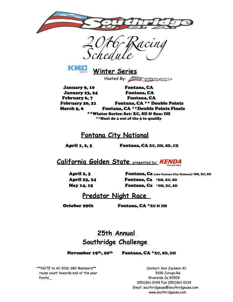 SRC 2016 Race Schedule